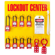 A photograph of a fully equipped 07054 Zing Recyclockout™ 8-padlock lockout/tagout station, with safety padlocks, lockout devices, and lockout tags.