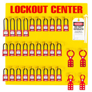 A photograph of a fully equipped 07056 Zing Recyclockout™ 28-padlock lockout/tagout station, with safety padlocks, lockout devices, and lockout tags.