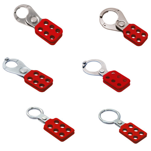 """A photograph of six 07350 1"""" and 1.5"""" red dipped lockout hasps in aluminum and steel."""