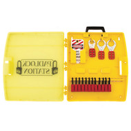A photograph of a fully equipped 07050 portable lockout/tagout station, with safety padlocks, lockout hasps, and lockout tags.