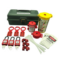A photograph of a fully equipped 07034 Zing Recyclockout™ lockout tagout kit with deluxe tool box, with plastic padlocks.