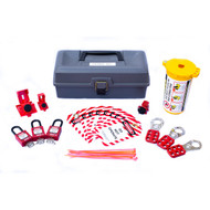 A photograph of a fully equipped 07043 electrical breaker and plug lockout tagout kit with tool box.