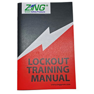A photograph of a 07073 Zing lockout training manual, with 10 per package.