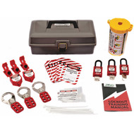 A photograph of a fully equipped 07044 deluxe electrical breaker and plug lockout tagout kit with tool box.