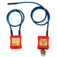 A photograph of a 07134 combination cable and padlock lockout device in locked and unlocked state, available with 1, 2, 3, or 4-foot cable.