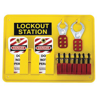 A photograph of a fully equipped 07057 7-padlock capacity lockout station, with lockout tags, devices, and safety padlocks.