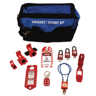 A photograph of a fully equipped 07102 Zing electrical lockout duffel bag kit, with lockout tags, devices, and safety padlocks.