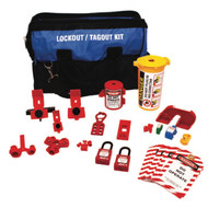 A photograph of a fully equipped 07103 Zing deluxe electrical lockout duffel bag kit, with lockout tags, devices, and safety padlocks.
