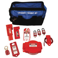 A photograph of a fully equipped 07104 Zing valve lockout duffel bag kit, with lockout tags, devices, and safety padlocks.