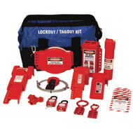 A photograph of a fully equipped 07105 Zing deluxe valve lockout duffel bag kit, with lockout tags, devices, and safety padlocks.