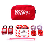 A photograph of a fully equipped 07029 economy portable lockout/tagout pouch kit, with lockout tags, devices, and safety padlocks.