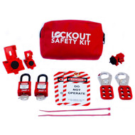 A photograph of a fully equipped 07030 portable lockout/tagout pouch kit, with lockout tags, devices, and safety padlocks.
