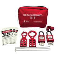 A photograph of a fully equipped 07032 Zing Recyclockout™ lockout tagout general application pouch kit, with plastic padlocks.