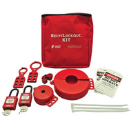 A photograph of a fully equipped 07033 Zing Recyclockout™ lockout tagout valve pouch kit, with plastic padlocks.