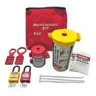 A photograph of a fully equipped 07035 Zing Recyclockout™ lockout tagout plug pouch kit, with plastic padlocks.
