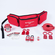 A photograph of a fully equipped 07037 Zing Recyclockout™ lockout tagout belt pack kit, with plastic padlocks.