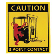 A photograph of a yellow and black 12209 forklift label, reading caution 3 point contact, with 10 per package.