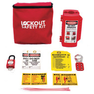 A photograph of a small fully  equipped 07038 forklift safety/lockout kit.