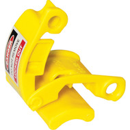 A photograph of a yellow 07174 pin and sleeve lockout device for 500 V plugs.