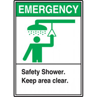 A photograph of a green and white 09392 emergency safety shower ANSI sign with graphic.