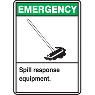 A photograph of a green and white 09393 emergency spill response equipment ANSI sign with graphic.