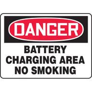 Danger Battery Charging Area No Smoking OSHA Signs w/ Graphics