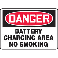 A photograph of a black and white 09394 danger battery charging area no smoking OSHA sign with graphic.