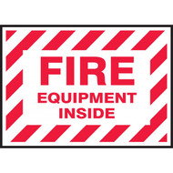 A photograph of a red and white 09384 fire equipment inside decal, with 5 per package.