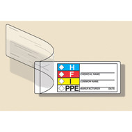 Illustration of the HMCIS Self-Laminating Labels - Chemical Name, Common Name, Manufacturer.