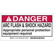 A photograph of a 07322-x brady vinyl arc flash labels, danger, text only.