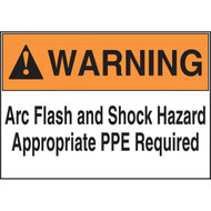A photograph of an orange and white 07301 ANSI basic arc flash label, with 100 per roll.