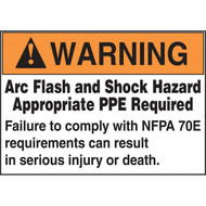 A photograph of an orange and white 07302 ANSI arc flash labels with NFPA 70E compliance text, and 100 per roll.