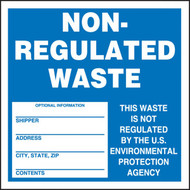 A photograph of a blue and white 12323 hazardous waste label, reading non-regulated waste.