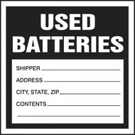 A photograph of a black and white 12326 hazardous waste label, reading used batteries.