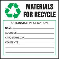 A photograph of a green and white 12330 waste label, reading materials for recycling with graphic.