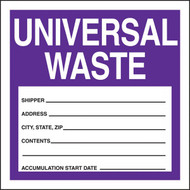 A photograph of a purple and white 12331 waste label, reading universal waste.