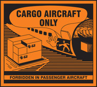 A photograph of an orange and black 12332 hazardous material shipping label, reading cargo aircraft only with illustration.