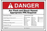 A photograph of a red and white 07321 ANSI danger arc flash label and signs with user information, blanks, and PPE checkboxes.
