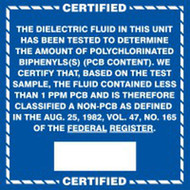 A photograph of a blue and white 12341 PCB marker,  reading certified non-PCB fluid.