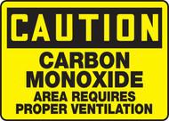 A photograph of a yellow and black 01750 caution carbon monoxide area requires proper ventilation OSHA sign .