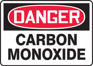 A photograph of a red and white 01752 danger carbon monoxide OSHA sign .