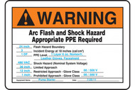 A photograph of an orange and white 07323 warning customized preprinted arc flash sign.