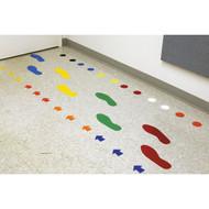 A photograph of a 06434 floor marking vinyl footprints applied on a floor.