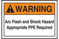 A photograph of an orange and white 07325 ANSI warning arc flash labels and sign, with basic text.
