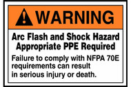 A photograph of an orange and white 07326 ANSI warning arc flash label and sign with NFPA 70E injury or death warning.