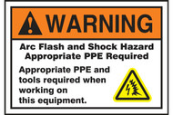 A photograph of an orange and white 07327 ANSI warning arc flash label and sign with tools and equipment text, and arc flash icon.