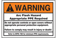 A photograph of an orange and white 07328 ANSI warning arc flash label and sign with detailed text instructions.
