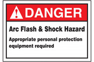 A photograph of a red and white 07330 ANSI danger arc flash label, with basic text.