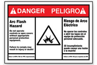 A photograph of a red and white 07331 bilingual english/spanish ANSI danger/peligro arc flash label with arc flash icon.