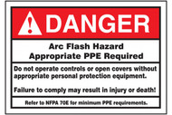A photograph of a red and white 07332 ANSI danger arc flash label with detailed text instructions.